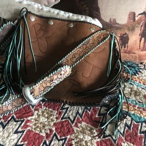 Large hobo chic western fringe branded purse!